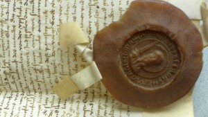 """Auf der Rückseite des großen Siegels das """"kleine Siegel"""" der Stadt Münster als zusätzliche Beglaubigung."""